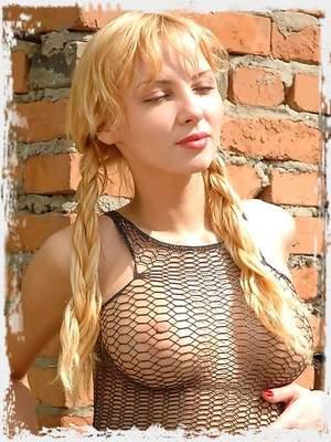 Perfect blonde Zina in see thru shirt