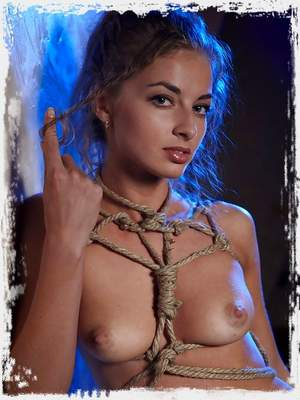 Sexy curly petite babe in ropes ; Sinful Goddesses
