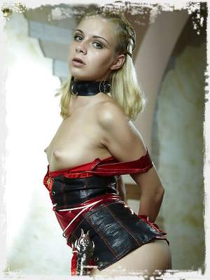 Small breasted amazon blonde girl with huge sword