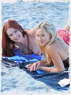 Melody and Lena beach lesbians
