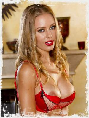 Nicole Aniston bares her sexy body in red lingerie and stockings
